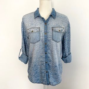 Life in Progress faded chambray printed button up
